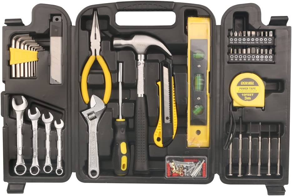 DOWELL 90 Piece Tool Set Home Repair Hand Tool Kit with Plastic Tool Box Storage Case