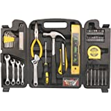 DOWELL 90 Homeowner Tool Set Pieces General Household Small Hand Tool Kit with Plastic Tool box Storage Case