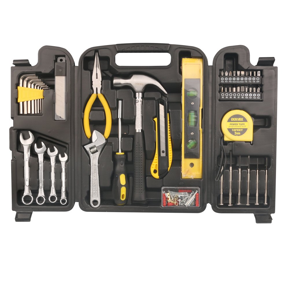 DOWELL 90 Pieces Homeowner Tool Set, Home Repair Hand Tool Kit with Plastic Tool box Storage Case