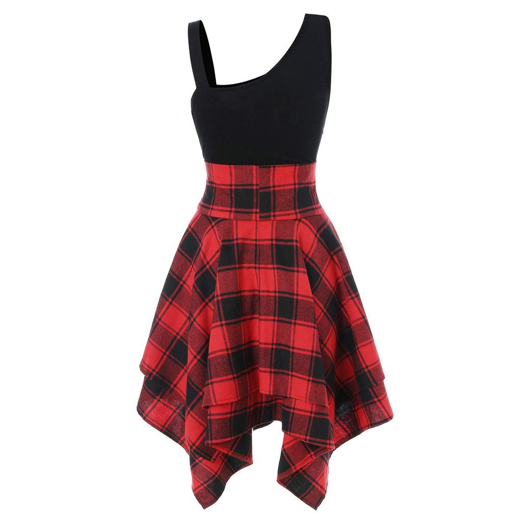 2019 Women's Sleeveless Lace Up Dress Cold Slanted Shoulder Cross Plaid Printed Irregular Stripy Summer Party Dresses (Red, S)