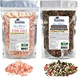 whole salt and pepper corns - Viva Doria Rainbow Peppercorn Blend (Whole Black, White, Green and Pink Peppercorn) 12 oz and Himalayan Pink Salt (Coarse Grain) 2 lbs for Grinder Refills