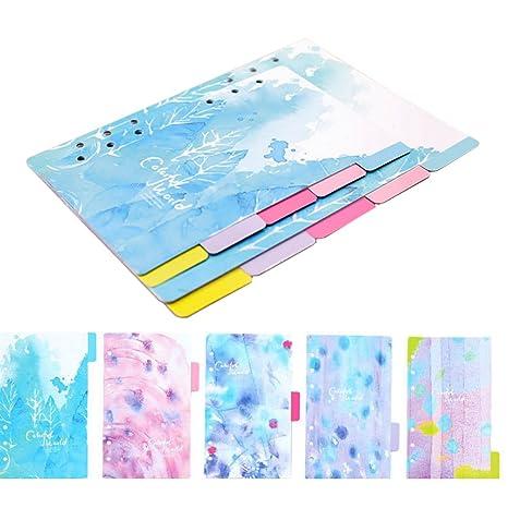 Dytiying Colorful Fresh Style Dividores de índice categoría de páginas pestañas tarjetas de índice para 6