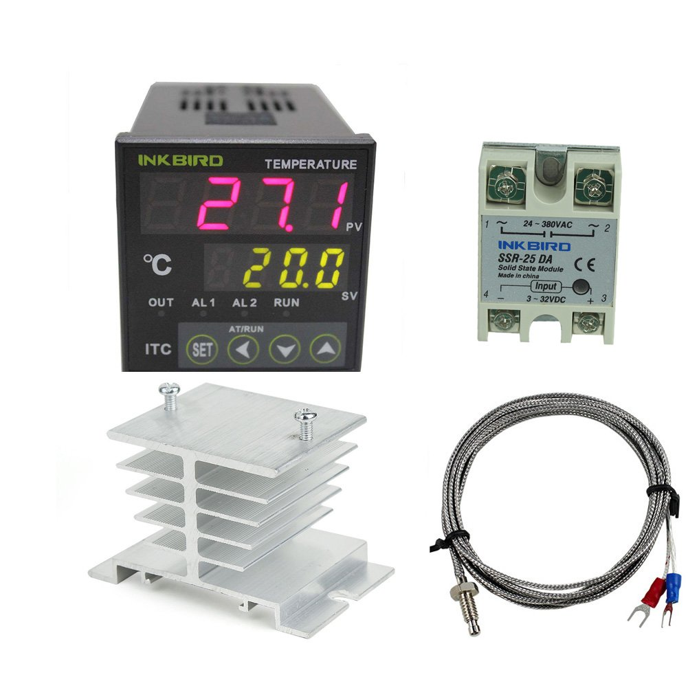 Inkbird AC 100 to 240V ITC-100VH Digital PID Thermostat Temperature Controller 25DA SSR K Thermocouple White Heat Sink