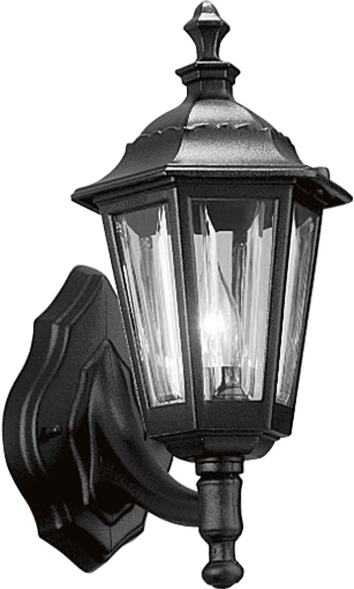 Progress Lighting P5826-31 Traditional One Light Wall Cast Lantern Collection in Black Finish, 7-Inch Width x 15-Inch Height
