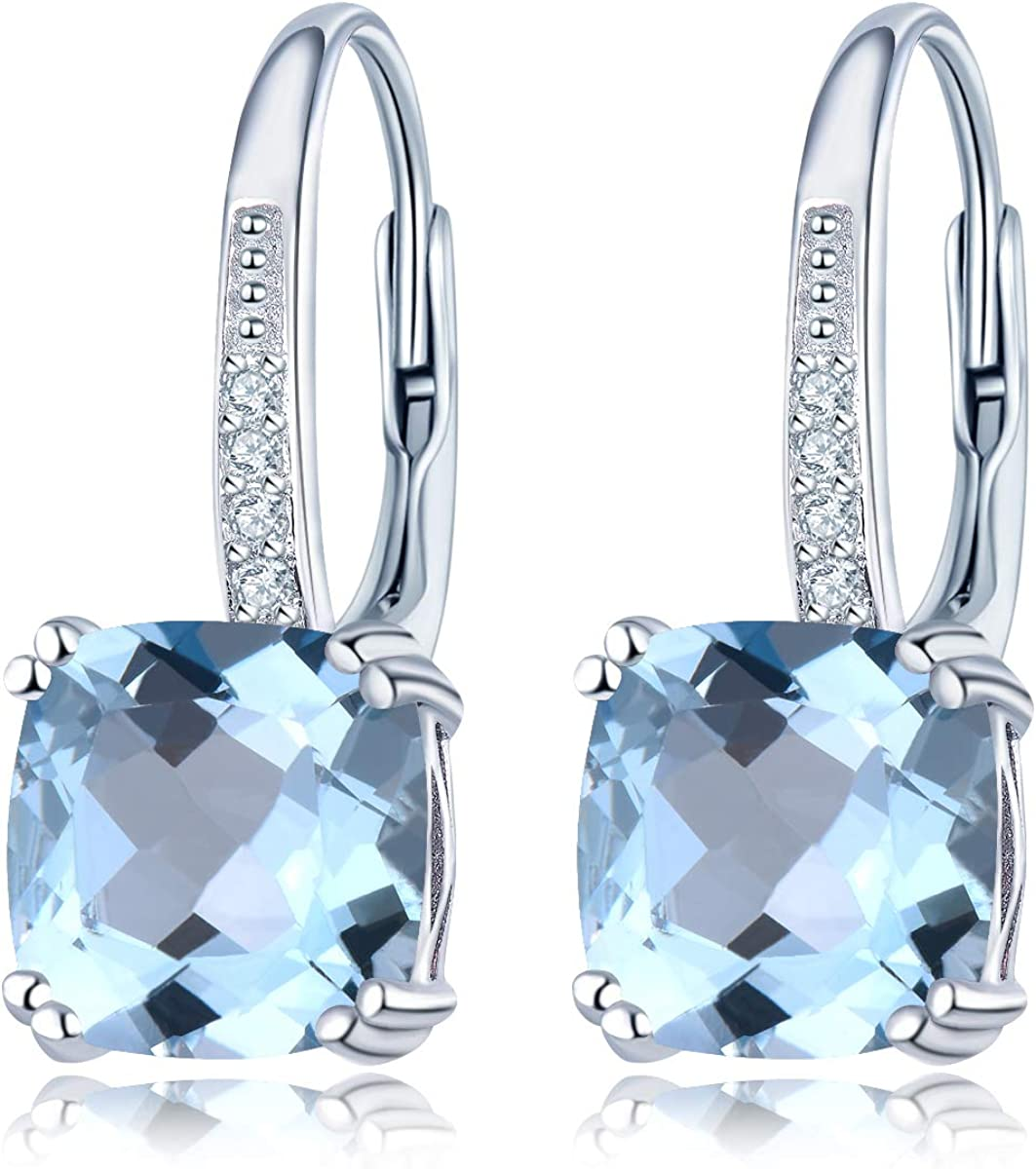 Hutang - Pendientes de gota de topacio azul celeste de 8 mm con gema natural de plata de ley 925