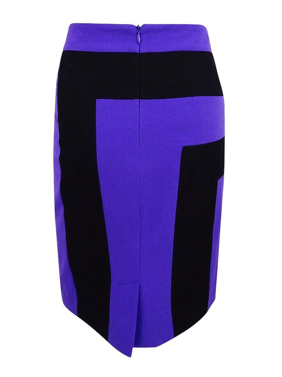 Falda de color block para mujer, violeta / negro, 10: Amazon.es ...