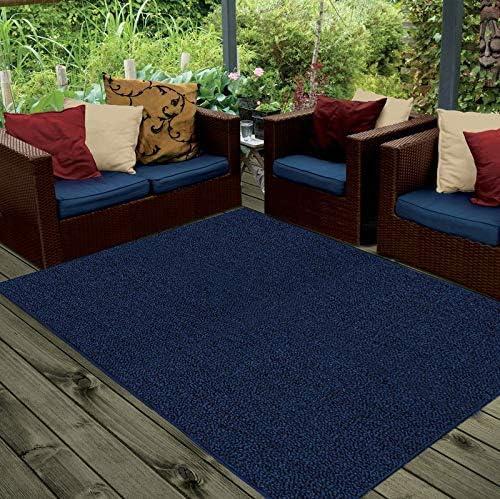 Ambiant Galaxy Way Solid Color Indoor Outdoor Area Rugs Navy