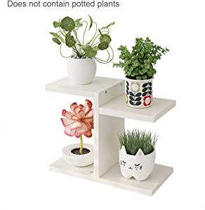 Zebery Wooden Flower Rack - Potted Plant Pot Display Stand 4 Grid Display Shelf Pot Shelf Storage Rack for Indoor & Outdoor Home Garden Decoration(Not Include Flower Pot)