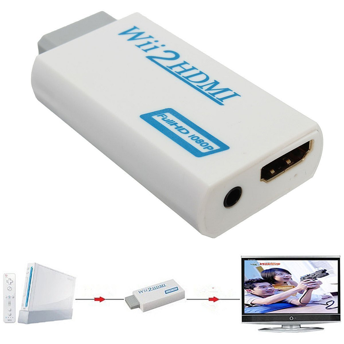 UniLink (TM) Wii to HDMI Video Converter Adapter 480P 720P with 3.5mm Audio Output Supports All Wii Display Modes DIGIPARTS 60-141
