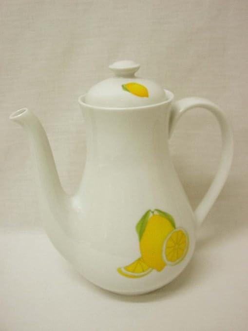 CAFETERA Tetera Redonda 1450ML Porcelana Limones: Amazon.es: Hogar