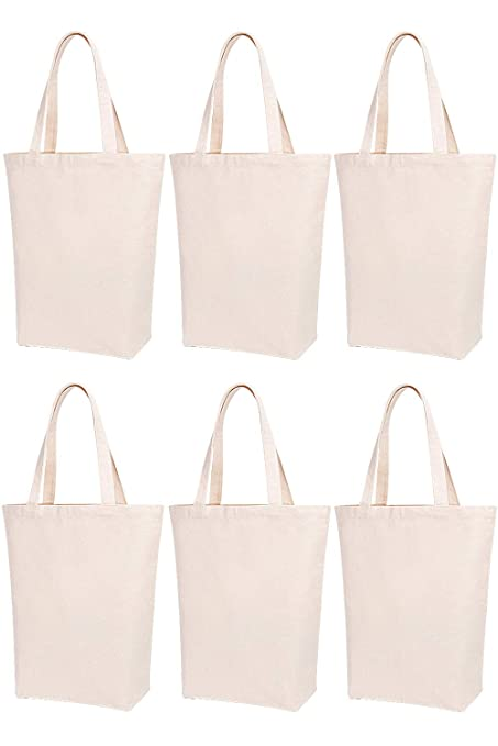 ddce02dfa Amazon.com: Lily Queen Natural Canvas Tote Bags DIY for Crafting and  Decorating Reusable Grocery Washable Bag Shopping Bag (Natural - 6 Pack):  Kitchen & ...