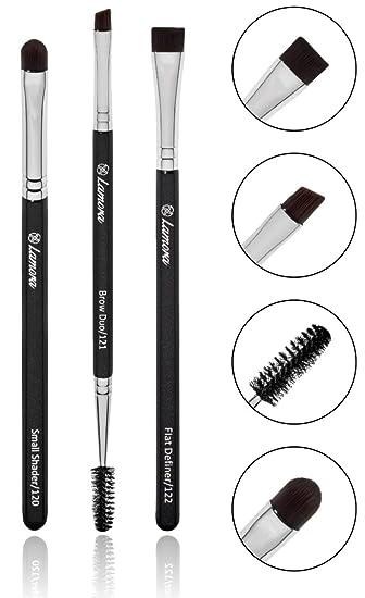 eyebrow brush - duo eye brow spoolie - angled eyeshadow eyeliner -  precision flat definer -