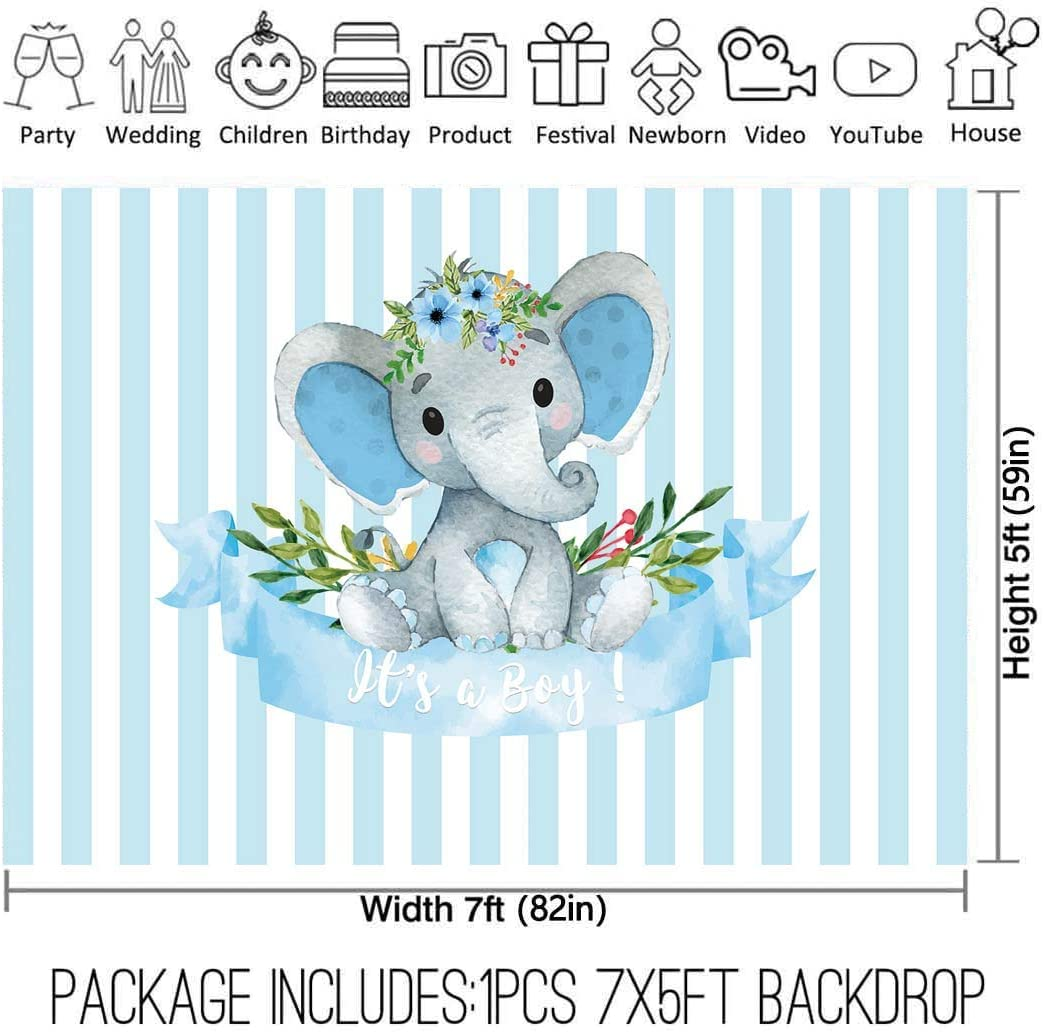Amazon Com Allenjoy 7x5ft It S A Boy Elephant Backdrop For Baby Shower Party Blue White Banner Newborn Kids Prince Birthday Photography Background Cake Table Decoration Photo Booth Studio Props Favors Supplies