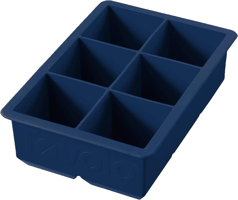 "Tovolo Large King Craft Ice Mold Freezer Tray of 2"" Cubes for Whiskey Bourbon, Spirits & Liquor Drinks, BPA-Free Silicone, Single, Deep Indigo"