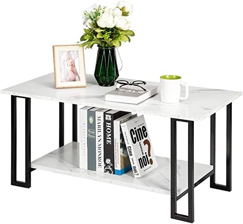 Henf Marble Rectangle Coffee Table,Modern Rectangle Accent Side Coffee Table