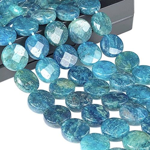 ([ABCgems] Rare Brazilian Blue Apatite 10mm Faceted Coin Beads)