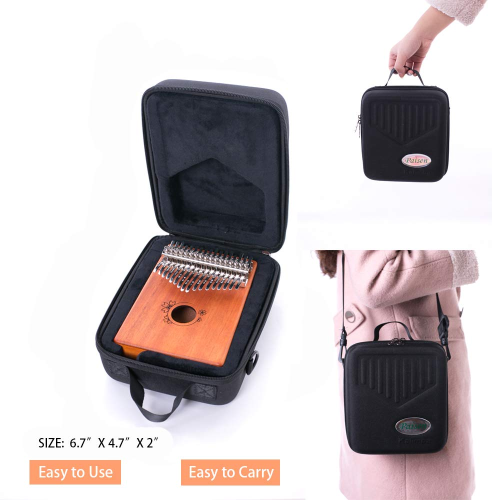 Paisen Kalimba 17 keys Thumb Piano with Study Instruction and Tune Hammer,Mahogany Wood Finger Piano with Portable Carrying Bag and Shoulder Strap for Kids Adult Beginners by Paisen (Image #3)