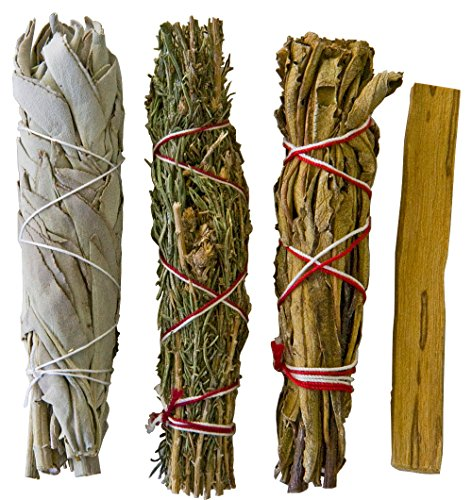 Unique Smudge Stick Kit - Contains Bonus Palo Santo Stick,White Sage, Desert Sage and Yerba Santa for cleansing your home of negative energies. Contains special herbs for creating barriers.