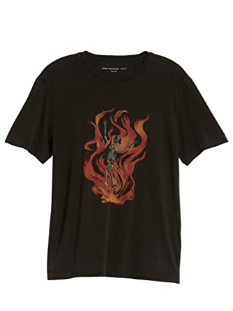 27ee0562 Amazon.com: John Varvatos Men's Short Sleeve Skeleton Flames Graphic Crew T- Shirt: Clothing