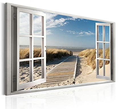 912b5fd8d Amazon.com: Canvas Prints Wall Art Paintings Beach Scenery Open Window  Artwork and Framed Artwork Ready to Hang for Home Decorations Wall Decor:  Posters & ...