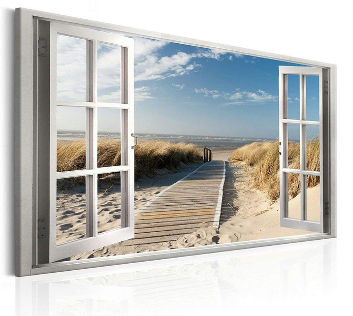 Canvas Prints Wall Art Paintings Beach Scenery Open Window Artwork and Framed Artwork Ready to Hang for Home Decorations Wall Decor(24inchx48inch) - PERFECT CANVAS ART: good idea for home interior walls decor such as living room, bedroom, kitchen, bathroom, guest room, office and others EASY TO HANG: each panel of canvas prints already stretched on solid wooden frames, gallery wrapped, with hooks and accessories, ready to hang. size:24inchx48inch(60cmx120cm) - wall-art, living-room-decor, living-room - 61PrWuAPPlL -