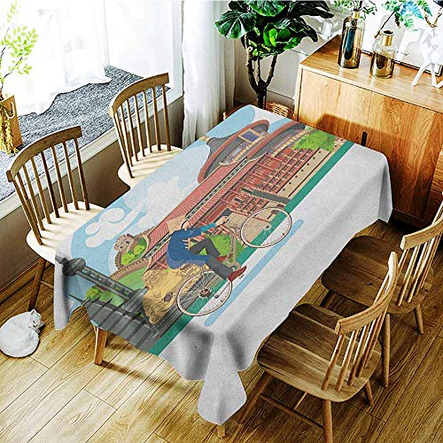 XXANS Fashions Rectangular Table Cloth,Ancient China,Chinese Elements Traditional Architecture and Costumes Behind a Cycling Man,Table Cover for Kitchen Dinning Tabletop Decoratio,W52x70L -