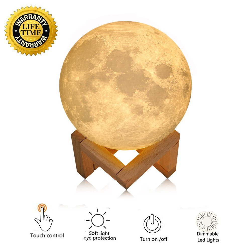 Night Light Lighting LED 3D Printing Warm Moon Lamp Touch Control Brightness Gift For Kids And Halloween equipment (3.9 Inch) by Magifire