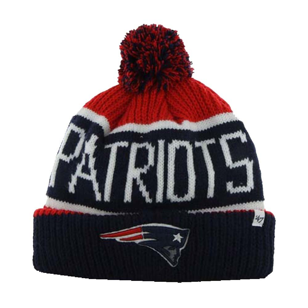 871f69765acbe Amazon.com   New England Patriots Red Calgary Cuffed Pom Knit Beanie Hat    Cap   Sports   Outdoors