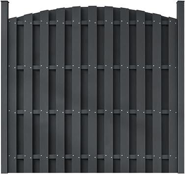 Paneles de valla de jardín de madera, plástico, WPC, paneles redondos grises para vallas de jardín de tamaño de 183 cm x 165,1 cm (ancho x alto) con dos postes: Amazon.es: Bricolaje
