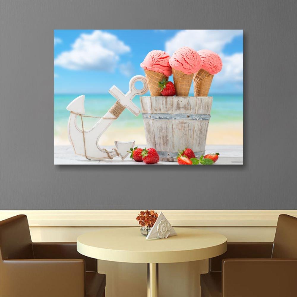 Cuadro artesanal impreso sobre lienzo. Imagen de la composición: helados, ancla, mar y fresas. Dimensiones: 70 x 50 cm. Bastidor realizado en madera.