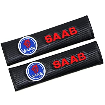 Saab  Seat Belt Cover Pads x2 Carbon