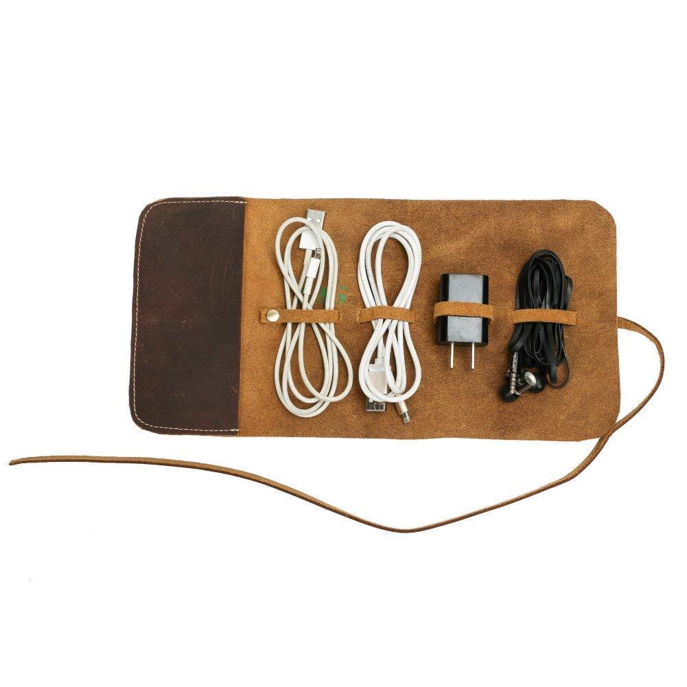 Travel Cord Organizer(Leather), Electronics Travel Organizer, Cable Organizer Travel Accessories for Men, Electronics Accessories Cases for Cable, Charger, Phone, USB, Headphone