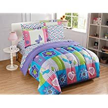 Fancy Collection 5pc Twin Size Comforter Set Teens/Girls Purple Turquoise Green Pink White Butterfly Heart Flower New #Butterfly Purple