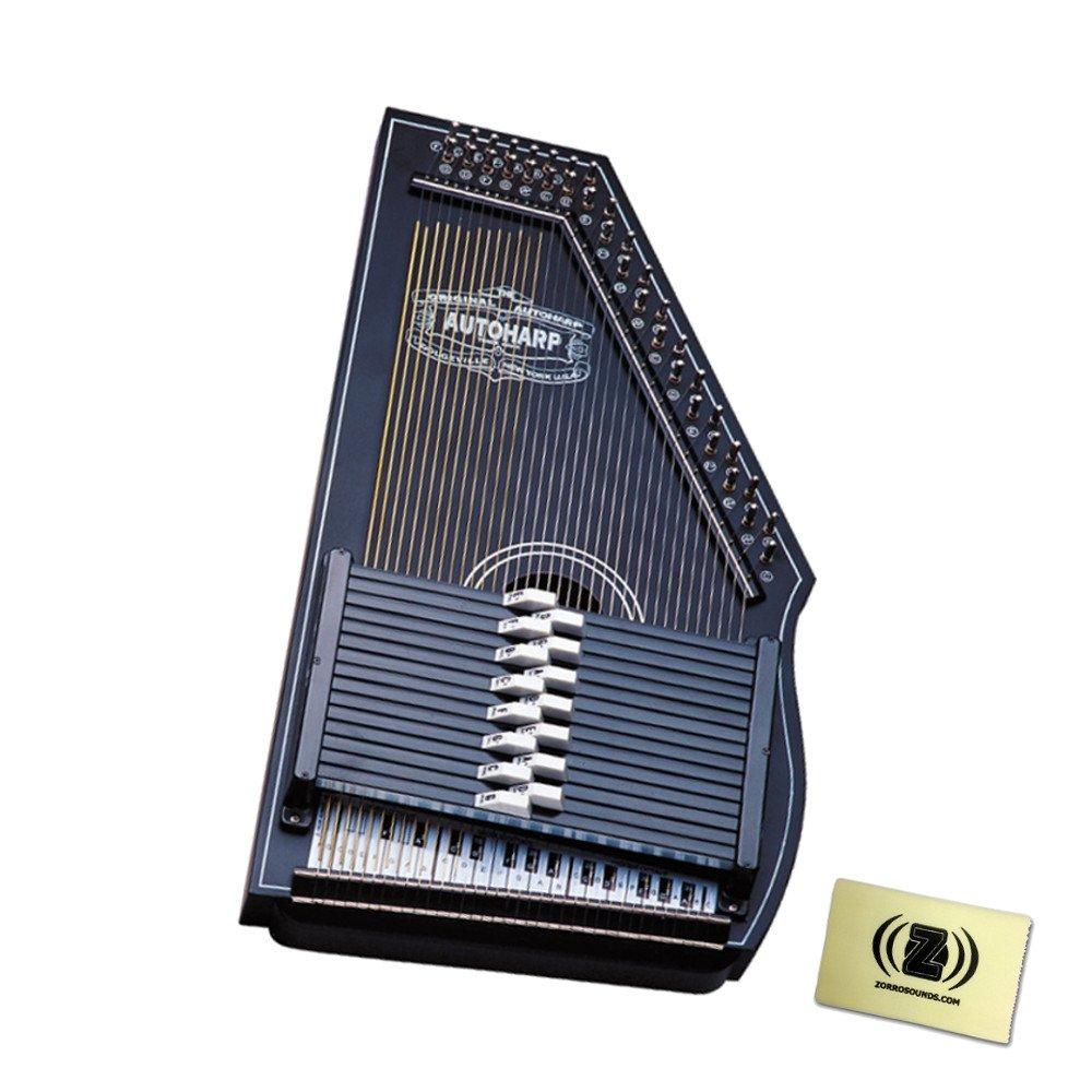 Oscar Schmidt OS73B 1930's Reissue 15 Chord Autoharp Bundle with Polishing Cloth - Black