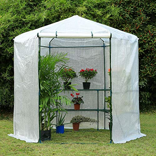 Erommy 7.5FT Portable Greenhouse 3-Tier Shelf Hexagonal Walk-in Green House Kit,Plant Hot House for Outdoor,Indoor-White
