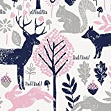 Carousel Designs Bubblegum Pink and Navy Woodland Animals Fabric by the Yard - Organic 100% Cotton