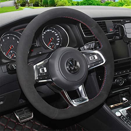 LUOERPI Cubierta de Volante de Gamuza Negra, para Volkswagen Golf ...