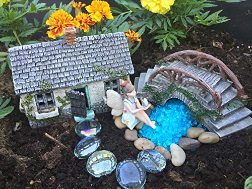 Fairy Garden Kit Ivy House and Bridge Set with Accessories, Sitting Fairy, Water Feature Pebbles and Gem Stepping Stones (Blue)