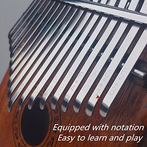 Thumb Piano Ranch Kalimba 17 keys Finger Mbira with Online 6 Free Lessons Solid Wood Mahogany Christmas Gifts with Bag/Carved Notation/Tune Hammer - Love Heart by Ranch (Image #5)