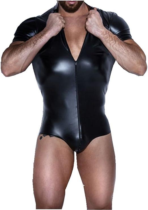 Men Wet Look Bodysuit Wrestling Singlet Zentai Underwear Leotard Night Clubwear