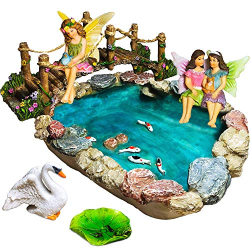 Fairy Garden Fish Pond Kit - Miniature Bridge Fairy Garden Figurines with Accessories - Hand Painted Set of 6 pcs for Outdoor or House Decor (For Miniature Gardens Fairies)