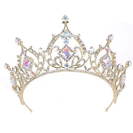 LXMJ Colorida Corona Corona del Princesa Rhinestone Cristal ...