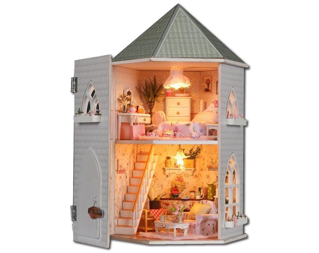 MTTLS Liebe die Festung Doll House Mini Haus Möbel Kit Dekoration Haus LED Handwerk Holz Puppen Zimmer Geschenk
