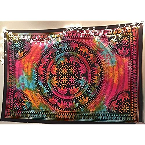 Popular Handicrafts Twin Tie Dye Elephant Bohemian Tapestry Psychedelic  Tapestry Wall Hangings Wall Art Indian Bedspread Tapestry 54x84 Inches ...