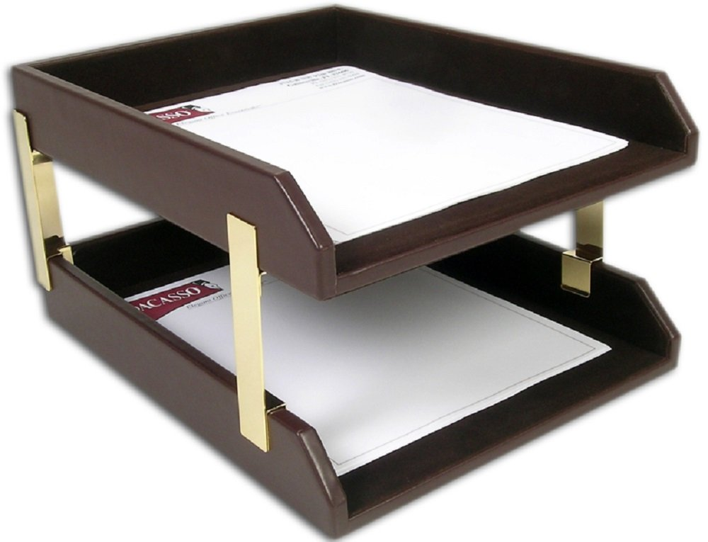 Dacasso Leather Double Legal-Size Trays, Chocolate Brown (A3421)