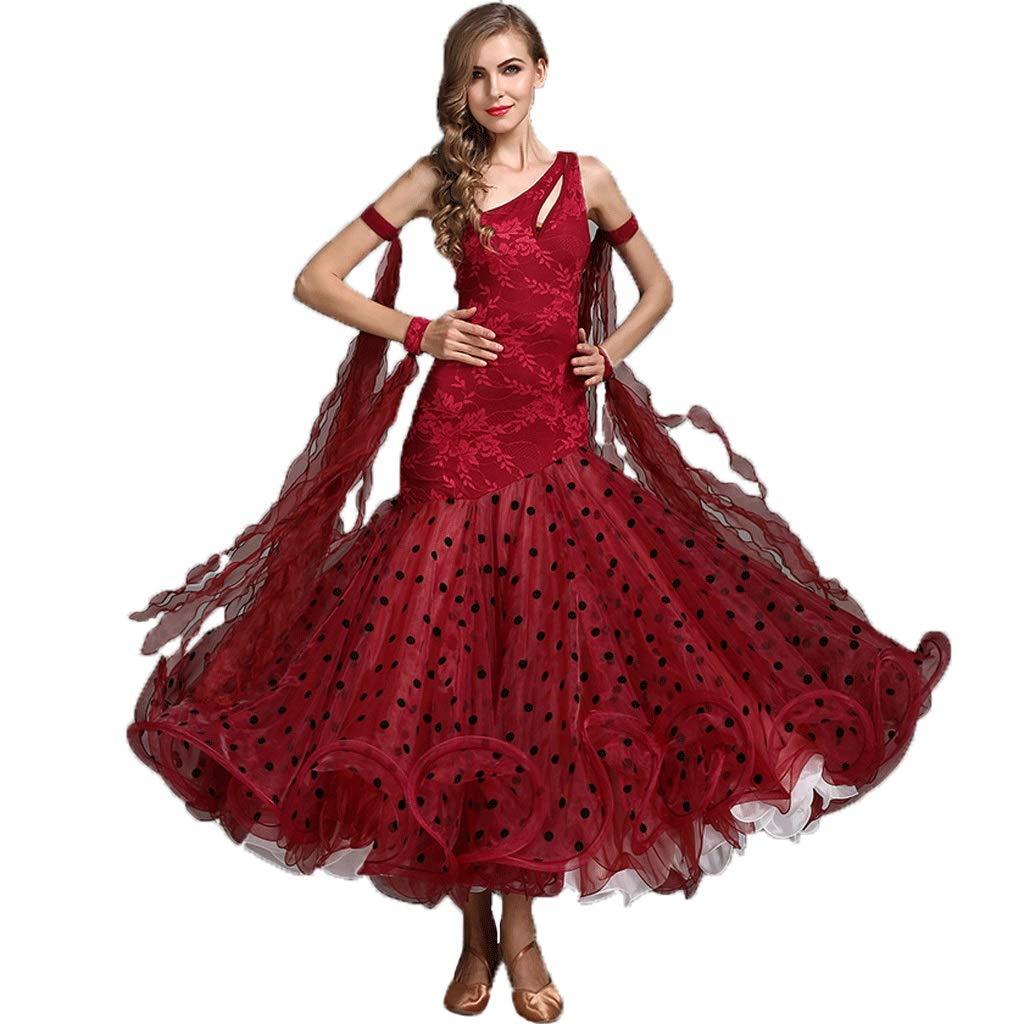 ★お求めやすく価格改定★ 女性のモダンダンスドレス社交ダンス衣装ドレスコスチューム漏れやすい肩ノースリーブビッグスイングスカート B07Q3D49YX B07Q3D49YX L L l|レッド レッド レッド L l, 質 フレンド:d6177f7f --- a0267596.xsph.ru