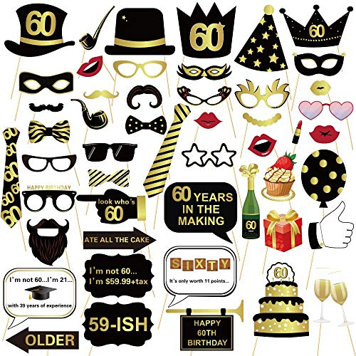 (60TH Birthday Photo Booth Props - Gold and Black Bithday Party Decoration Suit Men and Women - 51Count )