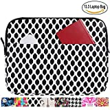 13.3 inch Laptop Sleeve Case Bag for Macbook Air 13 Pro Retina 13 Computer Bag for 13.3 Inch Tablet (Black and White Geometric)