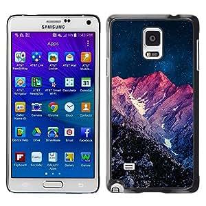 Qstar Arte & diseño plástico duro Fundas Cover Cubre Hard Case Cover para Samsung Galaxy Note 4 IV / SM-N910F / SM-N910K / SM-N910C / SM-N910W8 / SM-N910U / SM-N910G ( Night Purple Sunset Mountain Sky Universe)