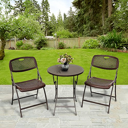 Le Papillon 3PC Bistro Set Folding Round Table And Chair Set Outdoor Furniture by Le Papillon